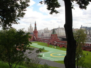 The helicopter pad inside the Moscow Kremlin