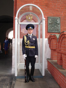 A guard outside the Moscow Kremlin