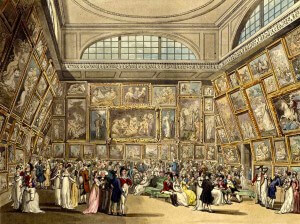 people dressed in Regency clothes looking at paintings in the Summer Exhibition at Somerset House